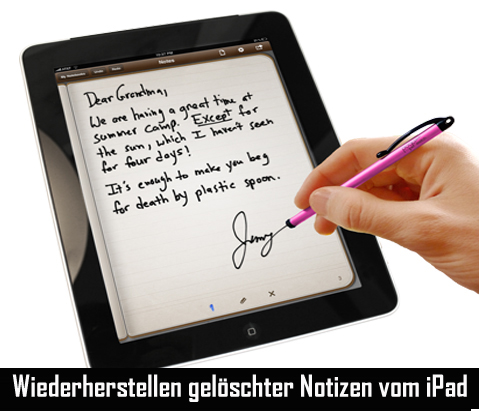 Wiederherstellen gelöschter Notizen vom iPad