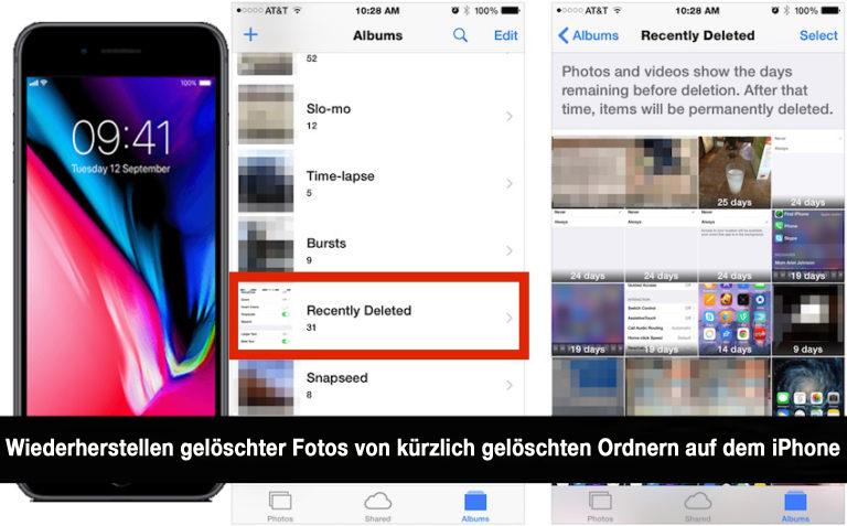 Wiederherstellen gelöschter Fotos von kürzlich gelöschten Ordnern auf dem iPhone