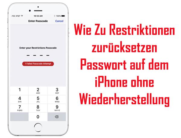 Restriktionen zurücksetzen Passwort auf dem iPhone ohne Wiederherstellung
